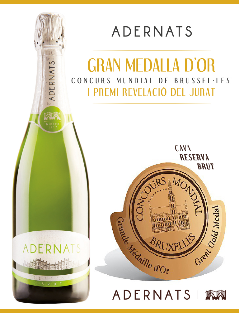GREAT GOLD MEDAL AND AWARD FOR REVELATION JURY ADERNATS CAVA BRUT RESERVE IN THE CONTEST BRUSSELS WORLD